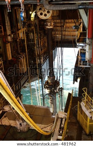 Riser on an offshore platform - stock photo