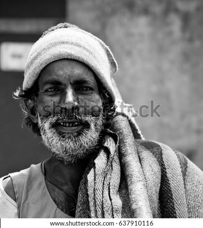 Rishikesh. India. April 12, 2017. Portrait of a pilgrim