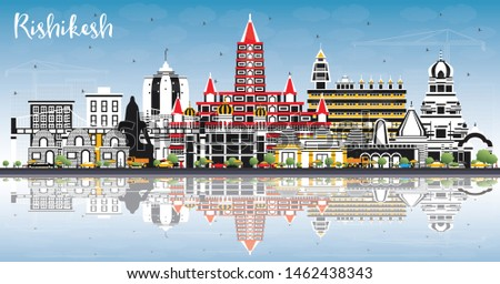 Rishikesh India City Skyline with Color Buildings, Blue Sky and Reflections. Business Travel and Tourism Concept with Historic Architecture. Rishikesh Cityscape with Landmarks.