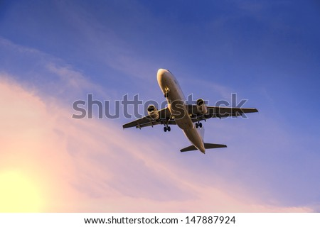 rising airplane - stock photo