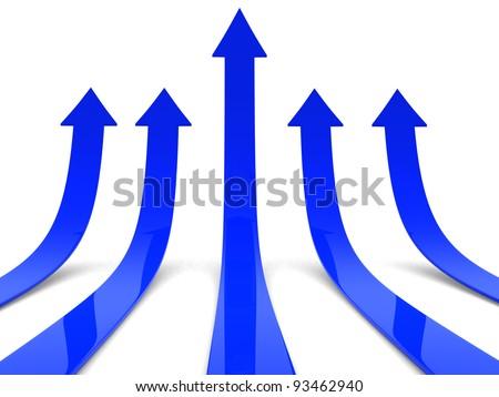 Rising blue arrows 3D
