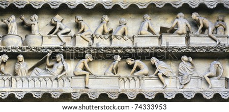 Rising From Death bas relief on Reims cathedral facade, France