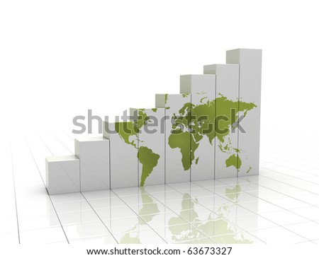Rising graph with world map