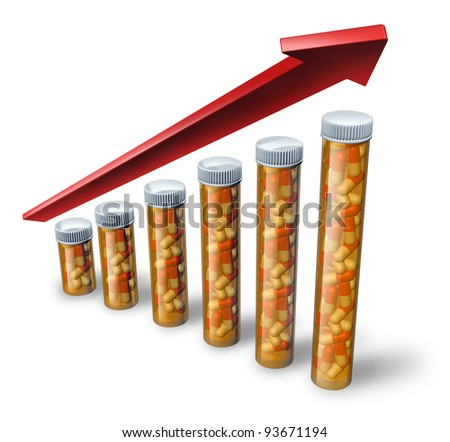 Rising health care costs soaring with pharmaceutical pill bottles increasing in size with a red arrow pointing higher as a medical concept showing the high price of health insurance and medicine.