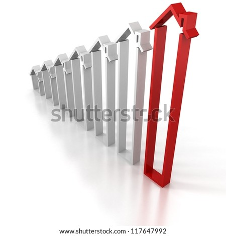 rising house bar chart diagram with red top leader