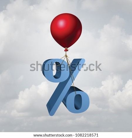 Rising interest rates finance and inflation economic concept as a percentage icon lifted up by a flying balloon with 3D illustration elements. Foto stock ©