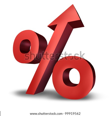 Rising interest rates symbol with a dimensional red percentage sign pointing upward as an icon of success or increasing financial payments and taxes on a white background.