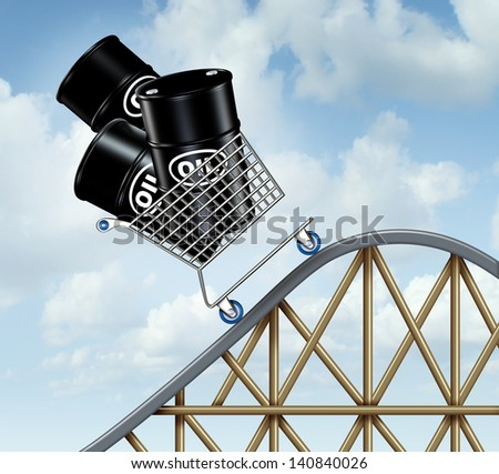 Rising oil prices as a group of oil barrels or steel drum containers in a shopping cart going up on a roller coaster as a business concept of high fuel costs and the unstable nature of energy value.