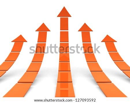 Rising orange arrows 3D - 3d render illustration