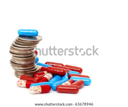 Rising stack of quarters and drugs signifying rising cost of medicine.