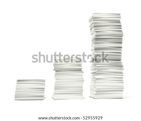 Rising stacks of paper illustrating,  like a bar graph, mounting paperwork growing costs, bills, bureaucracy etc. Isolated on white.