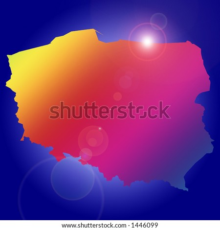 Rising star over one of many countries: Poland. More with keyword Group3. - stock photo