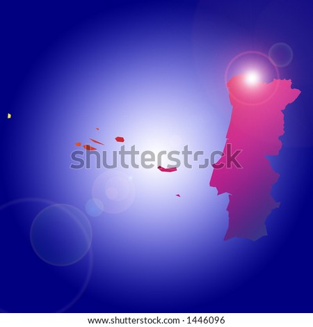 Rising star over one of many countries: Portugal. More with keyword Group3. - stock photo