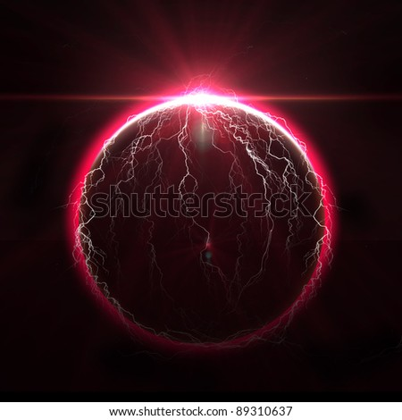 Rising Sun over the  lightning planet - stock photo