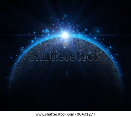 Rising Sun over the planet background