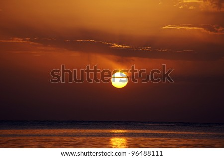 Rising sun over the Red sea