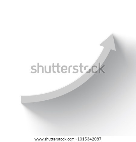 rising white arrow on white background with shadow, business growth, 3d rendering