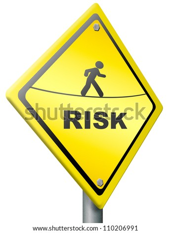 risk ahead warning sign in yellow be aware of danger and hazard in near future