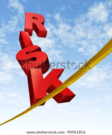 Risk and balance symbol with dimensional text letters on a dangerous tightrope balancing on a blue cloud sky as an anxiety concept of risky behavior and business risk or health risks.