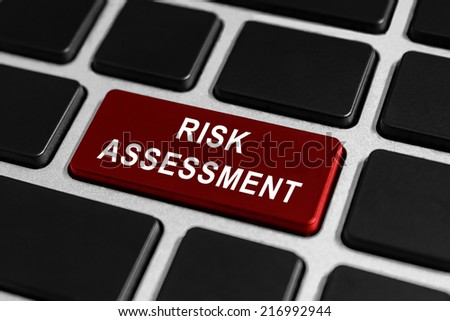risk assessment red button on keyboard, business concept