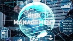 Risk Management and Assessment for Business Investment conceptual . Modern graphic interface showing symbols of strategy in risky plan analysis to control loss and build financial safety .