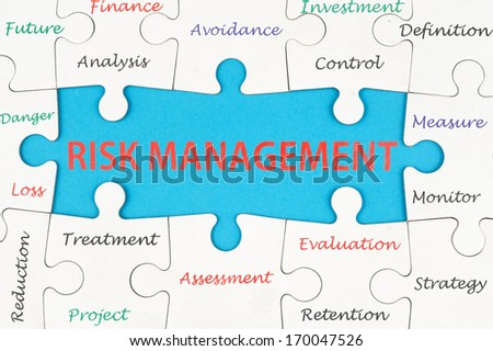 Risk management concept words on group of jigsaw puzzle pieces