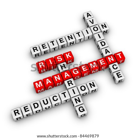 risk management crossword (new business concept) - stock photo