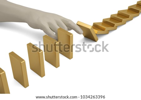 Risk management hand stopping the domino effect risk control concept. 3D illustration. #1034263396