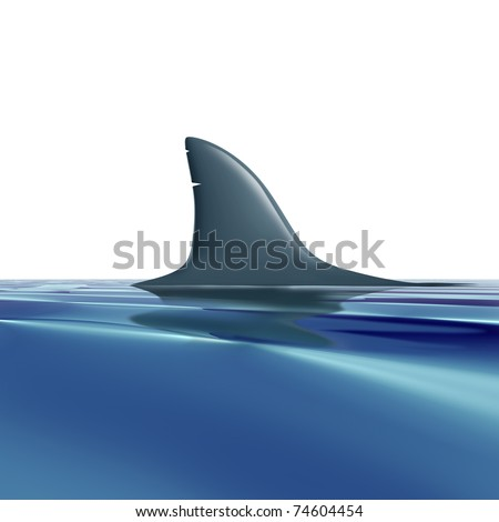 Risk symbol with shark fin above water representing future danger and risk from predators.