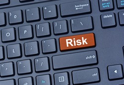 Risk word on computer keyboard button