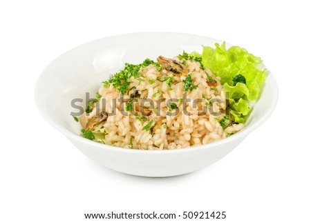 risotto whit seafood isolated on a white