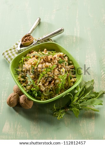 risotto with arugula and nuts, vegetarian food