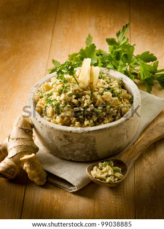 risotto with ginger and parsley, healthy food