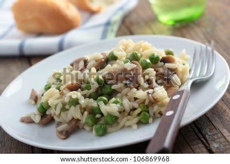 Risotto with mushrooms and green pea