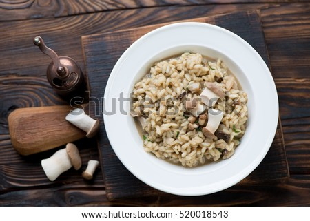 Shutterstock Risotto with porcini mushrooms over rustic wooden background, top view