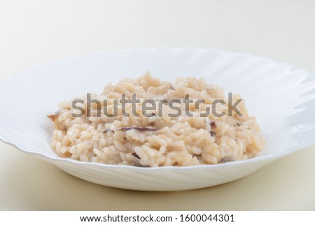 Risotto with Radicchio Rosso di Treviso, italian typical recipe from Veneto, rice
