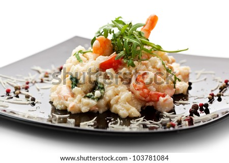 Risotto with Salmon, Tiger Prawns and Cherry Tomatoes