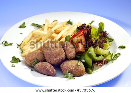 Rissole w various kind of vegetable and potato chips