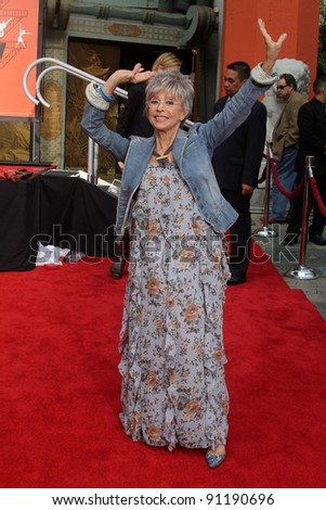 """Rita Moreno at the """"West Side Story"""" Cast Hand and Footprint Ceremony, Chinese Theater, Hollywood, CA 11-15-11 - stock photo"""