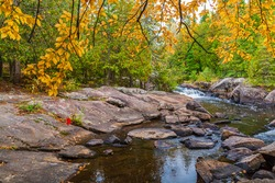 Ritchie Falls Conservation area Minden Hills Ontario Canada in autumn featuring main rapids, forest with fall colors on a sunny day