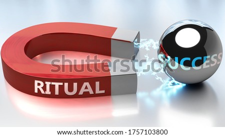 Ritual helps achieving success - pictured as word Ritual and a magnet, to symbolize that Ritual attracts success in life and business, 3d illustration Stock fotó ©
