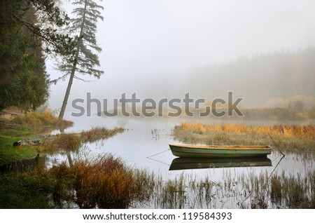 river and a boat scene during Fall season