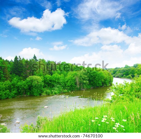 river and blue sky