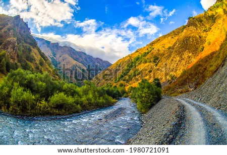 River and mountain pass trail. Mountain river view. River in mountains
