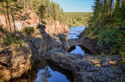 River and pond in Oulanka National Park in Finland
