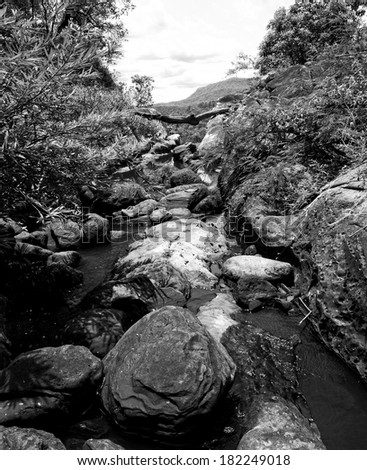 River and rock in the mountain, black and white color