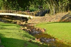 river at Ulong Legong Hot Spring (Kolam Air Panas Ulu Legong) recreational park, located at Baling, Kedah, Malaysia.