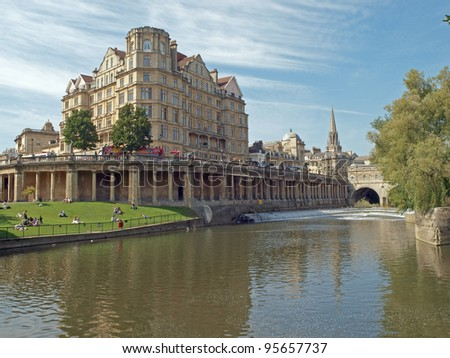 River Avon near Pulteney Bridge in Bath, Somerset, England