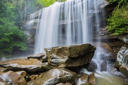 river background with small waterfalls in tropical forest.