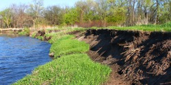 River bank erosion often occurs along meander bends such as this one on the Kishwaukee River in northern Illinois